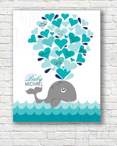 Digital guest book alternative for baby shower!  { Whale Guestbook Alternative } Great for a baby shower! Have your guests sign the hearts