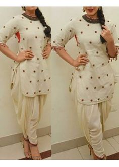Bollywood Replica - Ethnic Wear Cream Cotton Patiyala Suit - 70923 Cotton Dress Indian, Dress Indian Style, Mehendi Outfits, Indian Outfits, Women Salwar Suit, Salwar Suits, Serie Suits, Patiyala Dress, Suits For Women
