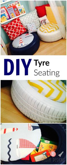 See how I recycled plain old tires into a kids seating area for my son kids playroom Tire Seats, Crate Seats, Old Tires, Recycled Tires, Tyres Recycle, Recycled Art, Ideias Diy, Kids Seating, Outdoor Seating