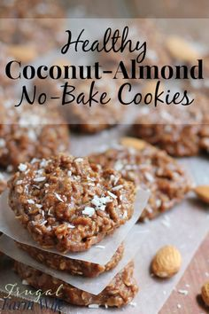 These healthy almond-coconut no-bake cookies are amazing! They remind me of my favorite candy bar. Yum! Gluten Free Cookies, Healthy Cookies, No Bake Cookies, Gluten Free Desserts, Healthy Baking, No Bake Desserts, Healthy Desserts, Cookies Et Biscuits, Dessert Recipes