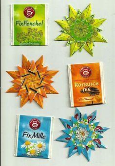 Es wurde mal wieder Zeit, die gesammelten Teebeutelverpackungen zu sichten und in Sterne zu verwandeln. Wenn man einmal angefangen hat, fäll...