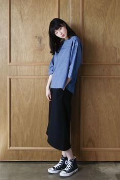 normcore-sthsweet: denim blouse & black trousers & converse black