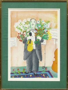 Lennart Jirlow: Efter föreställningen, färglitografi, 55x37 cm, edition 233/310