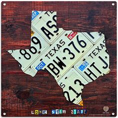 Texas License Plate Map Metal Sign Travel Decor 12 x 12 * Find out more about the great product at the image link. (This is an affiliate link and I receive a commission for the sales)