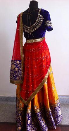 mustard n puple lehenga by sgar tenali. Half Saree Designs, Lehenga Designs, Blouse Designs, Indian Skirt, Indian Dresses, Indian Outfits, Saree Blouse Patterns, Dress Patterns, Mother Daughter Dresses Matching