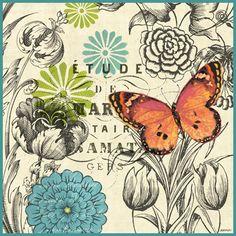 """French Butterflies Orange"" By Jennifer Brinley."