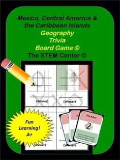 Mexico - Central America, & Caribbean Islands Geography Tic-Tac-Trivia Board Game!This game is a great way for your students to learn important vocabulary centered around Mexico, Central America, and the Caribbean Islands.  The subjects covered include:Land BridgePeninsulaSierra MadreVaquerosThe OlmecsMayaHieroglyphicsAztecsHernan CortesHaciendesMiguel HidalgoThe Aztec CalendarPlazaAdobeTacos & EnchiladasFederal RepublicMigrant WorkerChiapasSmogThe Monroe DoctrineIsthmusCanopyEcotourists...