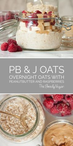 Overnight oats with raspberries & peanut-butter