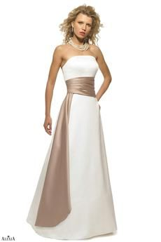 Style #2614: Strapless matte satin two-tone bridesmaids gown with pleated cummerbund and side drape. Available sizes: 2-28; Variety of Colors Available