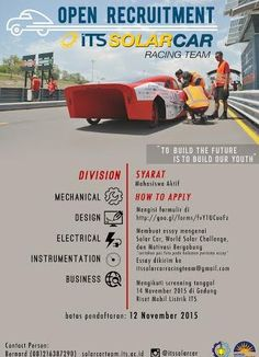 OPEN RECRUITMENT ITS SOLAR CAR RACING TEAM 2017