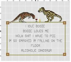 Alcoholic Dinosaur Poem - Funny Subversive Geeky Snarky Cross Stitch Pattern - Instant Download by SnarkyArtCompany on Etsy