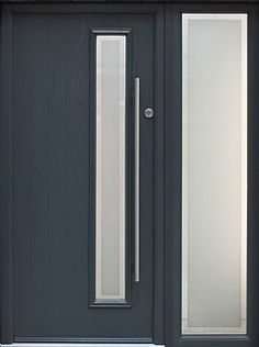 - A new contemporary styled door that has just been added to our range of GRP doors. - The Lyon door shown here in Anthracite grey is the ultimate in bespoke contemporary styling that will look great Grey Front Doors, Modern Front Door, House Front Door, House Doors, Contemporary Beach House, Contemporary Front Doors, Composite Cladding, External Front Doors, Porch Extension