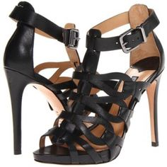 "SCHUTZ Eirininn black leather sandals 8 Black leather strappy cutout sandals by Schutz. Leather sole. 4.5"" heel, 0.5"" platform. Adjustable ankle strap with buckle closure. Made in Brazil, purchased from Shopbop. Only visible signs of wear on soles. SOLD OUT    ❌NO TRADES PLEASE❌ SCHUTZ Shoes Sandals"