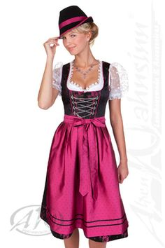More traditional pink & black dirndl with lace