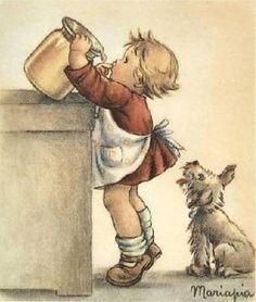 Illustration of Maria Pia Franzoni Tomba Vintage Greeting Cards, Vintage Postcards, Vintage Girls, Vintage Children, Vintage Pictures, Vintage Images, Photo D Art, Vintage Drawing, Children's Book Illustration