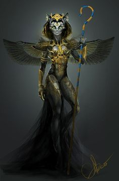 Бастет арт, рисунок, богиня, Египет, С просторов