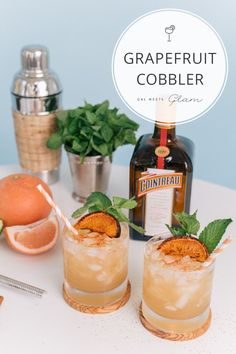 Julia Engel of Gal Meets Glam shares her recipes for two amazing cocktails: The Honey Blossom Collins and Grapefruit Cobbler. #CointreauSoiree #ad