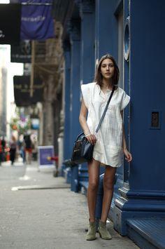 isabel marant booties.  celine bag.  white smock dress.