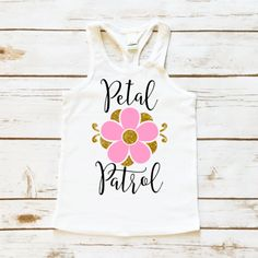 Petal Patrol Flower Girl Wedding Tank Top. The perfect gift for the flower girl in your Bridal Party. This tank top comes in sizes 12 Months to Girl's 5/6. Makes a great flower girl gift for your Summer Wedding.