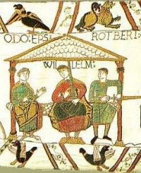 Scene from the Bayeux Tapestry ~ The Bayeux Tapestry is an embroidered cloth nearly 70 metres long and 50 centimetres tall, which depicts the events leading up to the Norman conquest of England concerning William, Duke of Normandy, and Harold, Earl of Wessex, later King of England, and culminating in the Battle of Hastings in 1066.