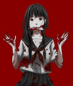 girl, knife, and anime image Manga Art, Manga Anime, Anime Art, Dark Anime, Creepy, Scary, Yandere Girl, Psycho Girl, Dark Pictures