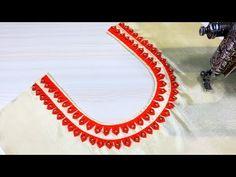 Latest Front Neck Design Cutting and Stitching (Easy Method) Churidhar Neck Designs, Salwar Neck Designs, Neck Designs For Suits, Half Saree Designs, Kurta Neck Design, Neckline Designs, Fancy Blouse Designs, Blouse Neck Designs, Designs For Dresses
