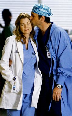 Meredith and Derek on 'Grey's Anatomy'. One divorce, a few death scares and two babies later this couple is still going strong.