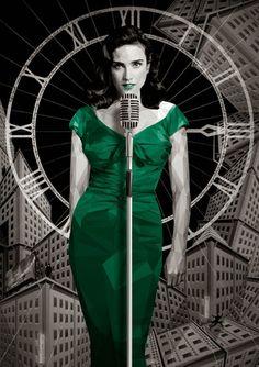 "johnny-dynamo: ""Dark City by Simon Delart "" Jennifer Conely, Jennifer Connelly Young, Dark City, Pop Culture Art, Alternative Movie Posters, Dieselpunk, Color Splash, Cool Art, Bodycon Dress"