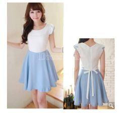 Kind of like a belle dress :)   http://www.dresslink.com/lady-short-sleeve-romantic-splicing-dress-with-waistband-skirt-p-4544:0264811c9b762dfb0a53258e0dbb9f42.html