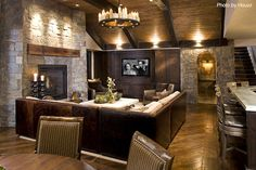 Traditional Basement - I'm a sucker for the stone & wood….