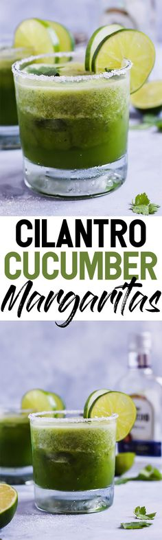 Make These Cilantro Cucumber Margaritas! They are a cool, refreshing twist on this classic cocktail! The cucumber is blended in for ultimate flavor. These pair perfectly with chips & salsa! #emilieeats #healthyrecipes #vegandrinks #margaritarecipes