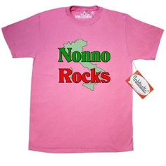 Inktastic Nonno (Italian Grandfather) Rocks T-Shirt Italian Grandfather Family Pride Nonna Nonni Grandmother Grandparents Women Gifts Mens Adult Clothing Apparel Tees T-shirts, Size: XL, Pink