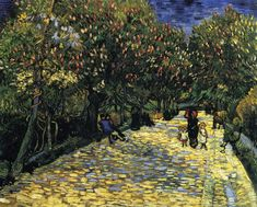 Vincent van Gogh Avenue With Flowering Chestnut Trees At Arles1889