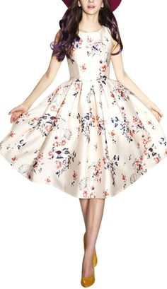Sleeveless Printed Short Slim Fit Vintage Cocktail Flare Dresses - Cute Dresses // Wearing this 18th-century floral printed vintage dress you'll stand out of the crowd for sure. Perfect for those who love European and American retro style. This season, let the floral printing element cover you with elegance. Including a Boat Neck design to soften chest and put in evidence the waist. You will become elegant ladies in one second.