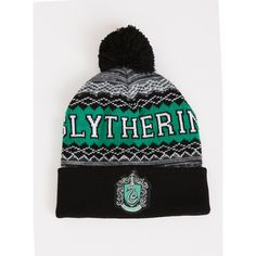 Torrid Slytherin Pom Beanie ($13) ❤ liked on Polyvore featuring accessories, hats, sports knit hats, knit hat, beanie cap, pom beanie and sport knit hats
