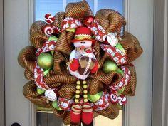 Deco Mesh Snowman Wreath   Christmas Snowman Deco Poly Mesh Wreath   Wreaths for All Occasions
