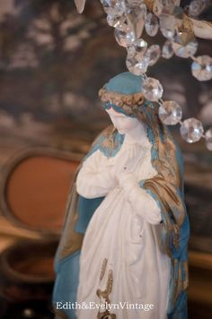 Antique Madonna Statue Blue and White Plaster by edithandevelyn