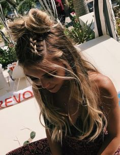 Pinterest: iamtaylorjess | Half up double French braids and double buns • Cute summer hair style