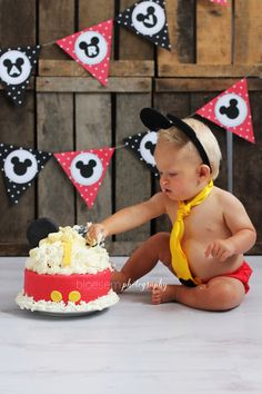 Bloesem Photography Cake Smash Mickey Mouse Shoot - bunting available at www.creativemess.nl (free inc. psd editable file)