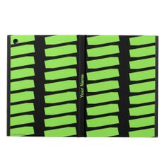 iPad Air Folio Case, Neon Green Pattern on Black - This iPad Air case is decorated with a pattern of repeating neon green shapes on a black background, and personalized with name or other text. It's easy to modify or delete example text. What a wonderful case for your new iPad! Great gift for graduation, Mother's Day, Father's Day, Christmas ... All Rights Reserved © 2014 Alan & Marcia Socolik. #IPad #IPadAir