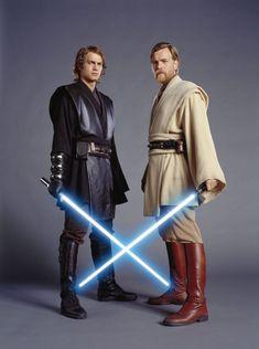 Hayden Christensen & Ewan McGregor in 'Star Wars' as Anakin Skywalker and Obi Wan Kenobi Star Wars Jedi, Star Wars Saga, Film Star Wars, Hayden Christensen, Ewan Mcgregor, Obi Wan Kenobi Costume, Thranduil, Sith, Star Wars