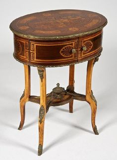 Late Biedermeier bronze mounted marquetry side table, 19th c., with anthemion inlay, 30h x 23.5l x 17.5d