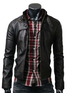 Black leather jacket with highlighting up new the shoulders and detailing around the collar combed with dark red, white and black plaid shirt and faded jeans.