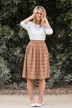 Cindy Mocha Striped Midi Skirt