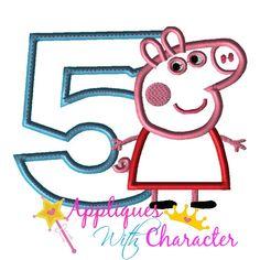 a9d9b27cff9 Pepper Pig FIVE Applique Design