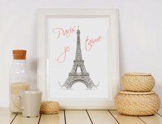 Paris Je Taime. Je T Aime Paris Art. Eiffel Tower Paris Print.