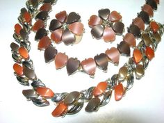 VINTAGE FALL LEAVES HEARTS THERMOSET NECKLACES & CLIP ON EARRINGS #NA