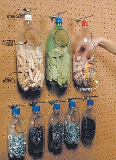 Recycled plastic bottles make for Space-Saving & Cheap Storage organization garage Small Shop Tips: Sawhorse, Space-Saving & Cheap Storage Shed Organization, Organizing Tools, Organising, Household Organization, Diy Plastic Bottle, Plastic Pop, Plastic Plates, Diy Storage With Plastic Bottles, Plastic Bags