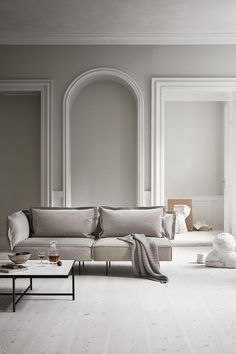 minimalism home Sand coloured velvet modular sofa in a pale and minimal Scandinavian living space, designed by Handvärk Classic Interior, Minimalist Interior, Home Interior, Modern Interior, Interior Styling, Interior Architecture, Interior Decorating, Decorating Tips, Best Interior