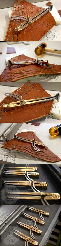 #craftntools  Each #vergezblanchard #tool is #handmade. Here you can see how the Adjustable Groove Compass was tested on a #leather piece. The pictures were taken at the Vergez Blanchard factory. This tool is used for cutting round grooves in #leather. It has two-point leg for best stability when making grooves in leather. It is completely hand made of #brass #copper and #high-quality #steel, so it is very durable and stable